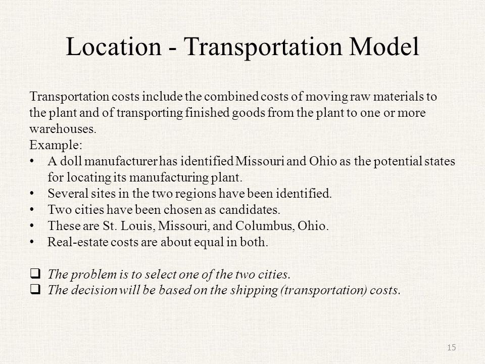 Location - Transportation Model