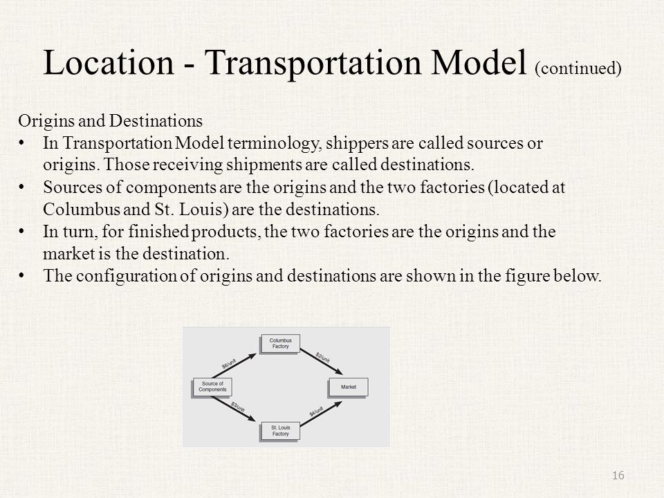 Location - Transportation Model (continued)