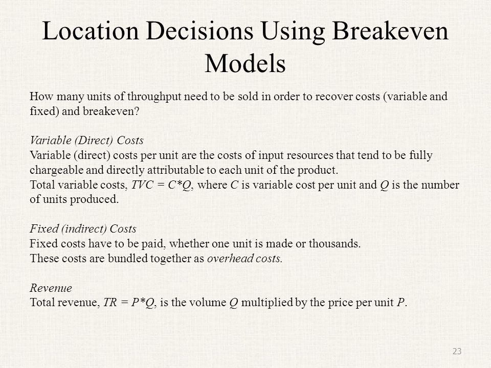 Location Decisions Using Breakeven Models