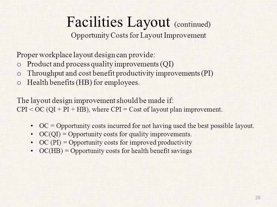 Facilities Layout (continued) Opportunity Costs for Layout Improvement