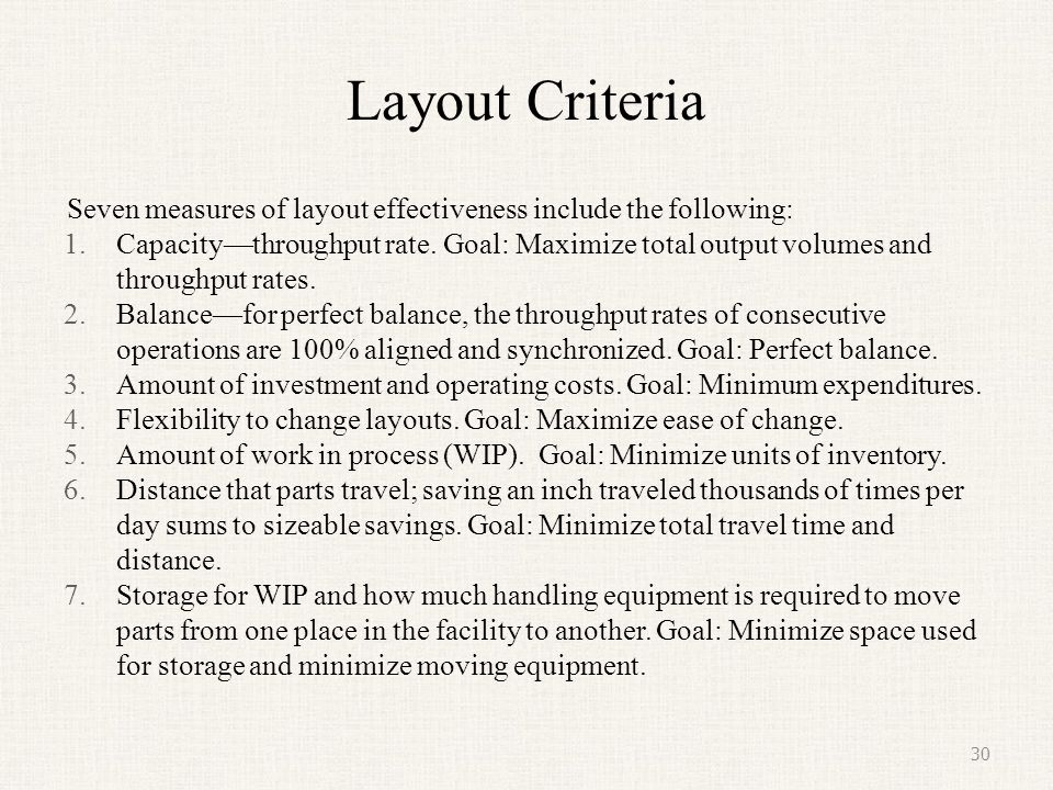 Layout Criteria Seven measures of layout effectiveness include the following: