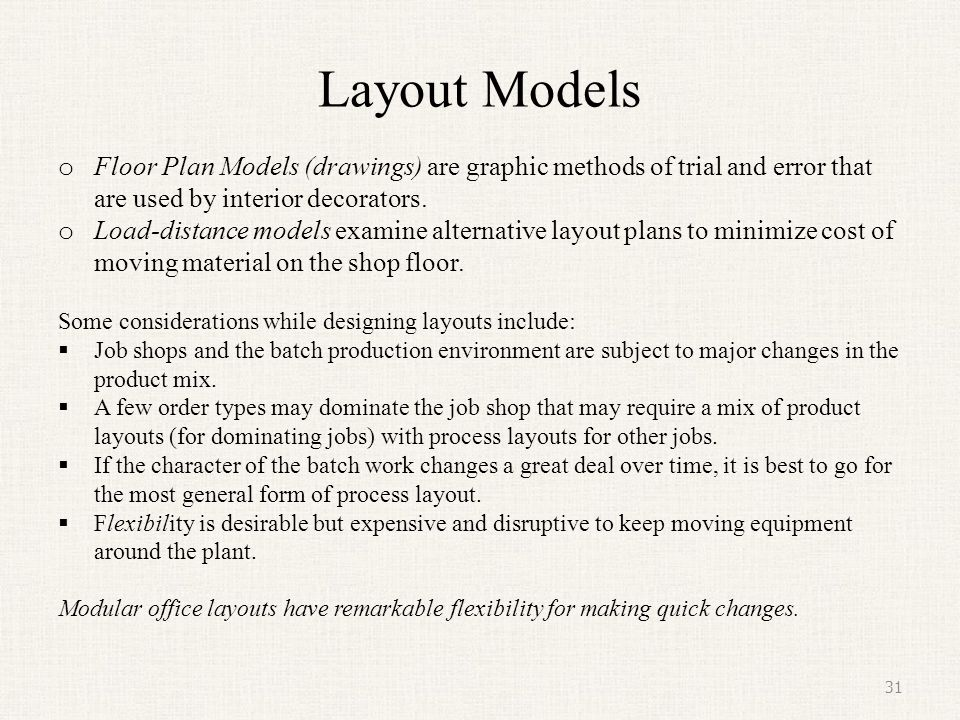 Layout Models Floor Plan Models (drawings) are graphic methods of trial and error that are used by interior decorators.