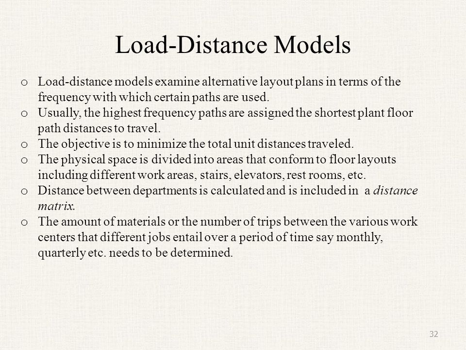 Load-Distance Models Load-distance models examine alternative layout plans in terms of the frequency with which certain paths are used.