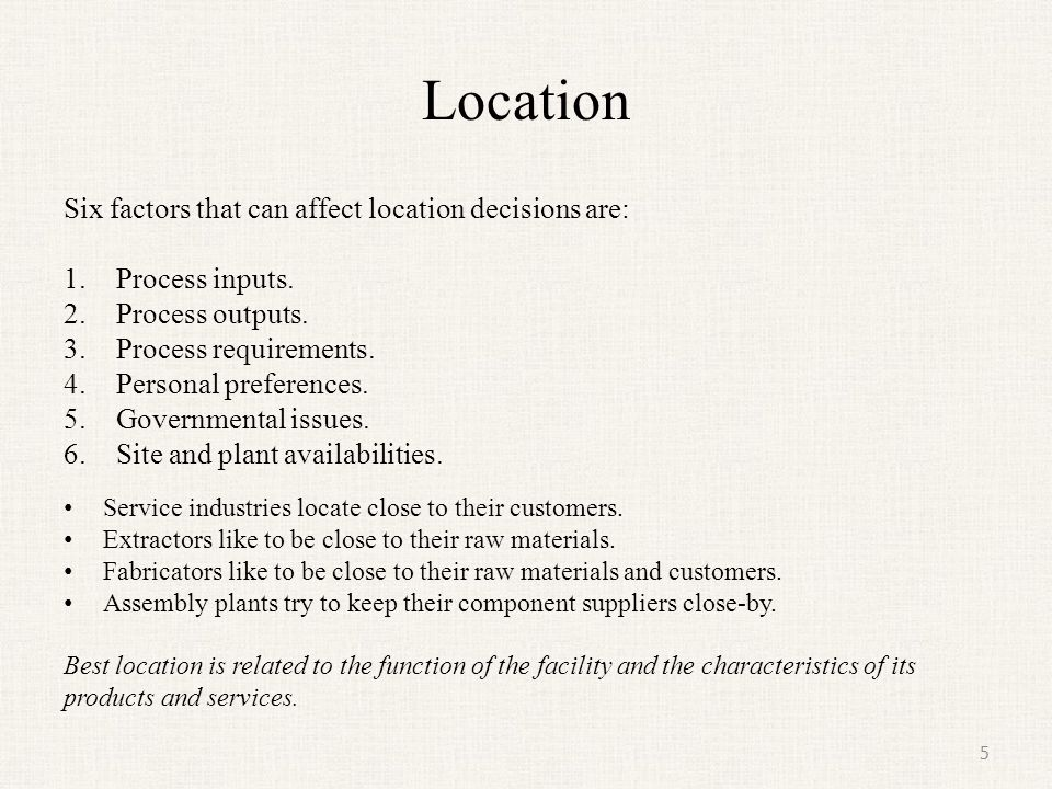 Location Six factors that can affect location decisions are: