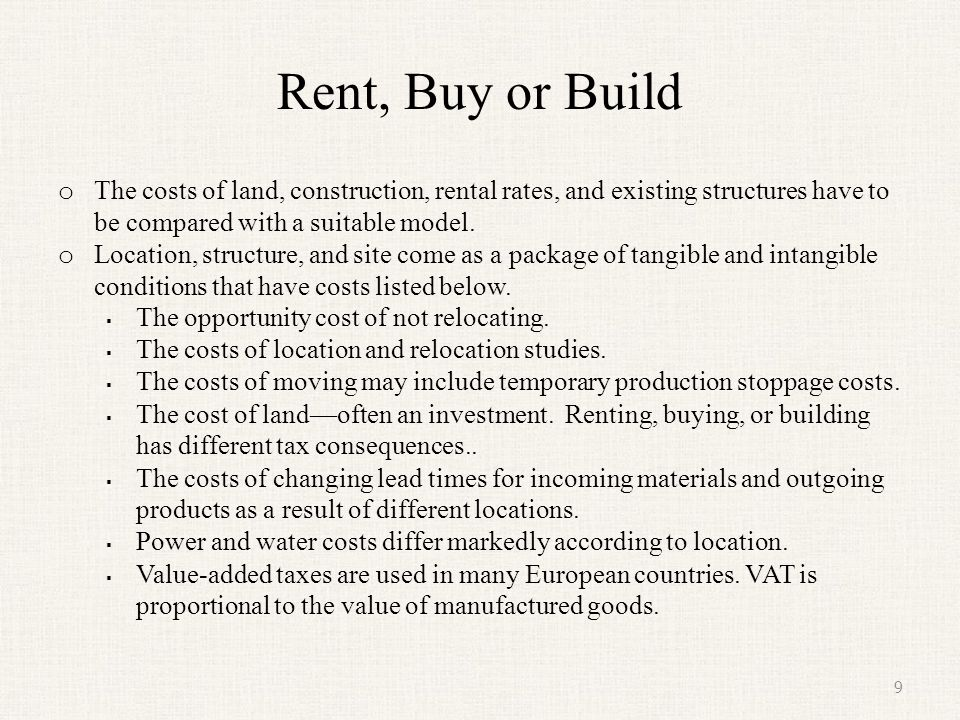 Rent, Buy or Build The costs of land, construction, rental rates, and existing structures have to be compared with a suitable model.
