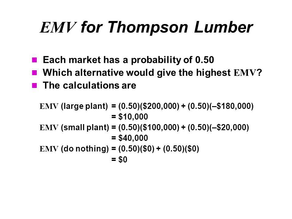 EMV for Thompson Lumber