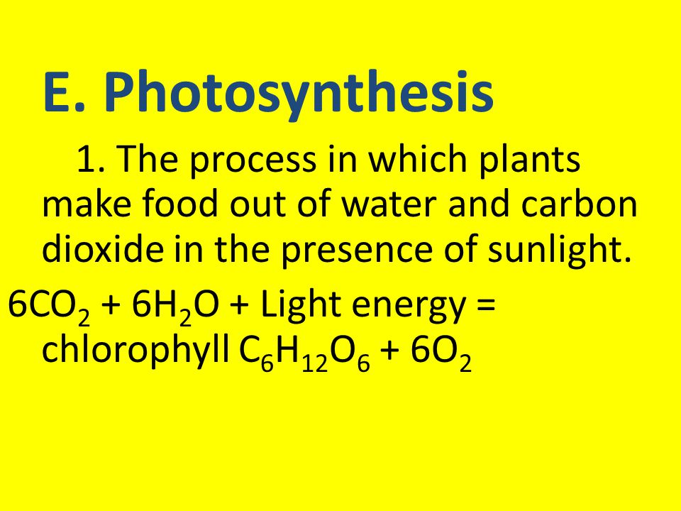 6CO2 + 6H2O + Light energy = chlorophyll C6H12O6 + 6O2