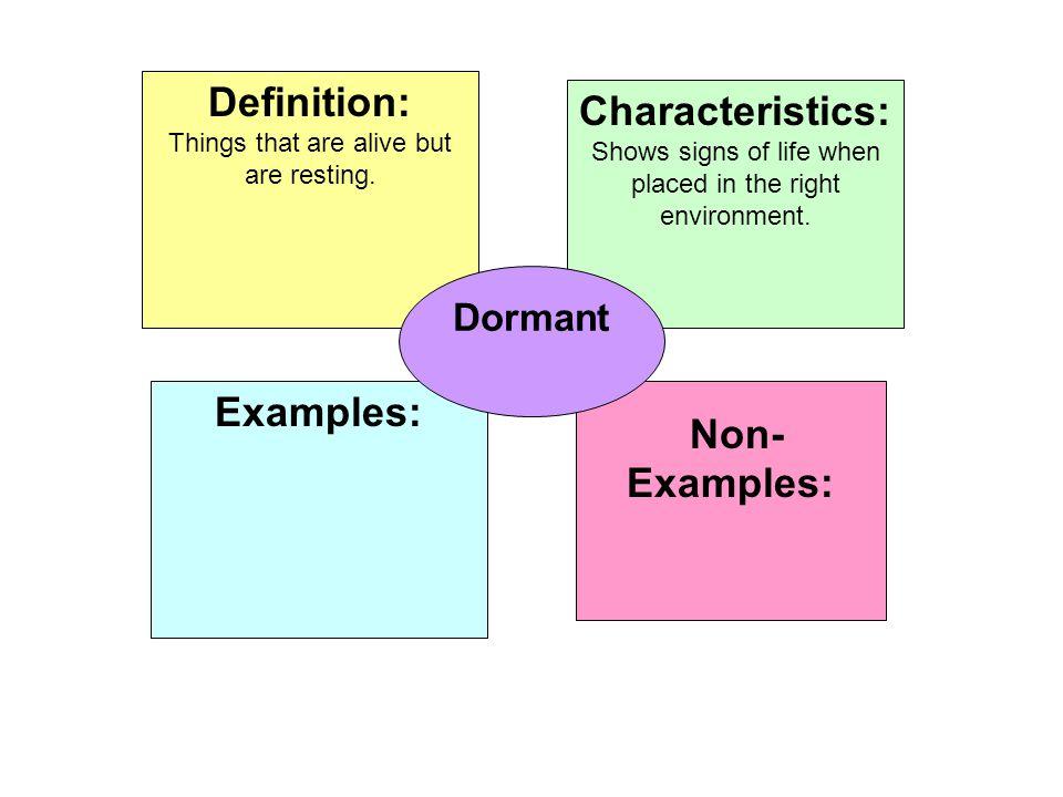 Definition: Characteristics: Examples: Non-Examples: Dormant
