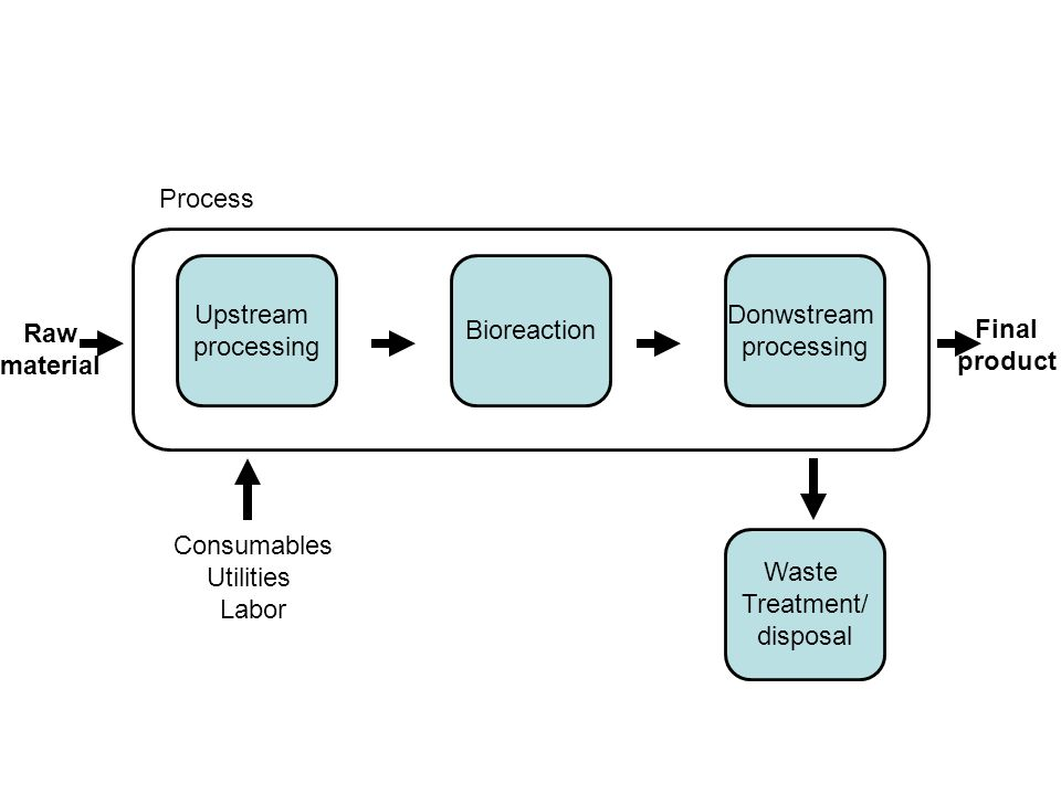 Process Upstream. processing. Bioreaction. Donwstream. processing. Raw. material. Final. product.