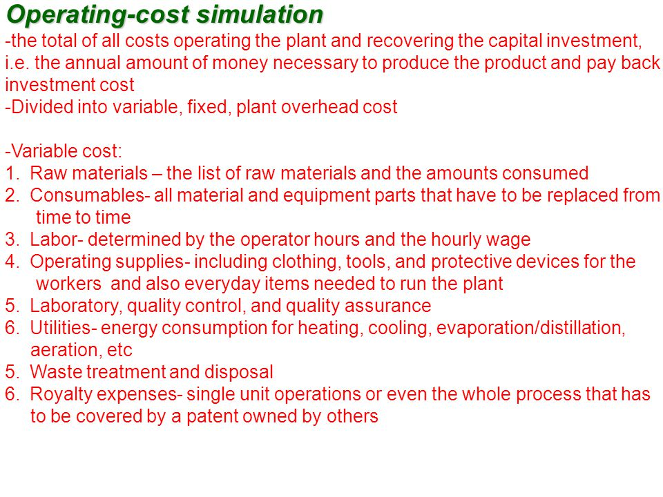 Operating-cost simulation