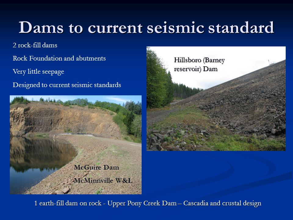 Dams to current seismic standard