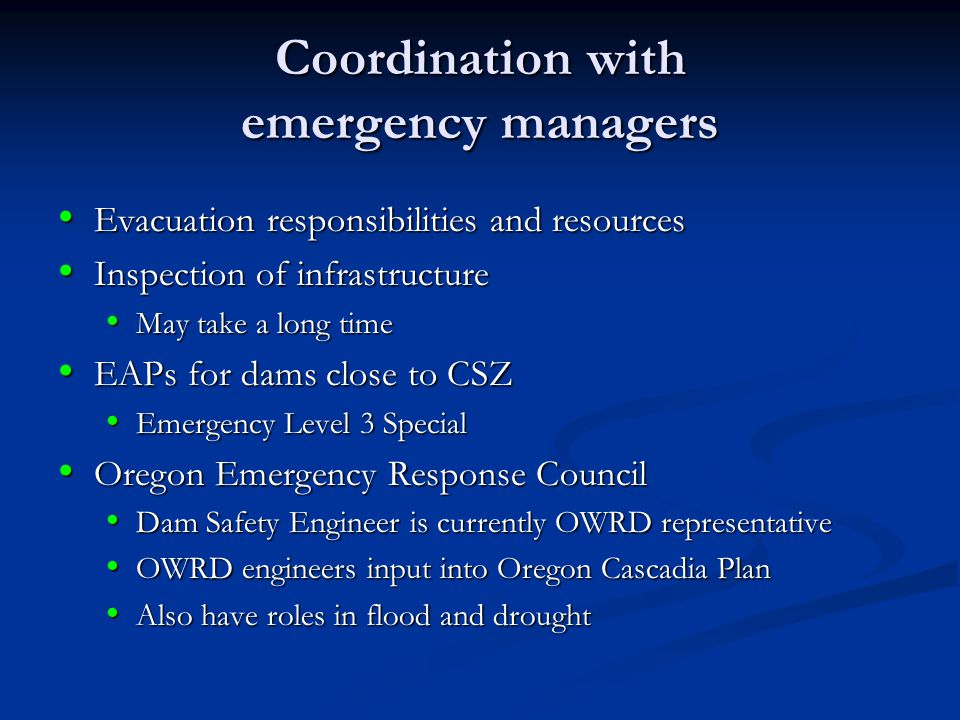 Coordination with emergency managers