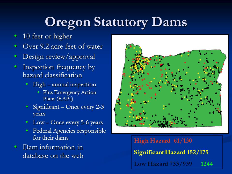 Oregon Statutory Dams 10 feet or higher Over 9.2 acre feet of water