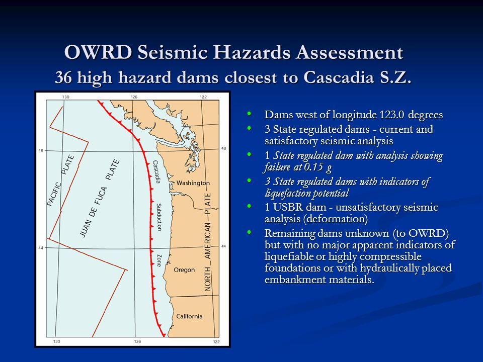 OWRD Seismic Hazards Assessment 36 high hazard dams closest to Cascadia S.Z.