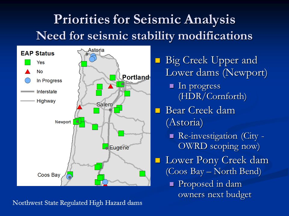 Priorities for Seismic Analysis Need for seismic stability modifications