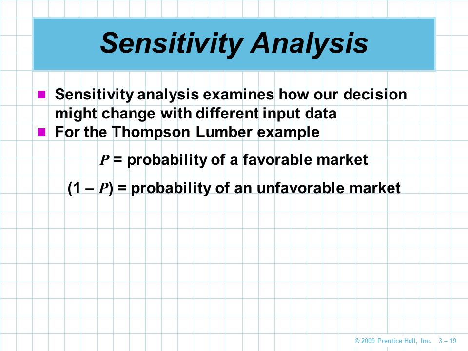 Sensitivity Analysis Sensitivity analysis examines how our decision might change with different input data.
