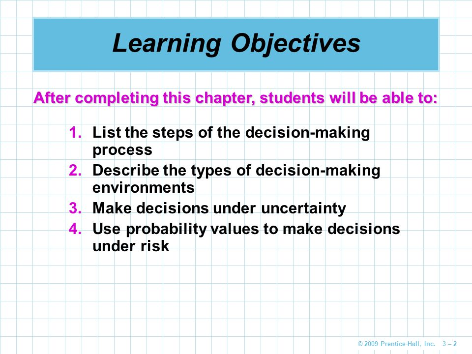 Learning Objectives After completing this chapter, students will be able to: List the steps of the decision-making process.