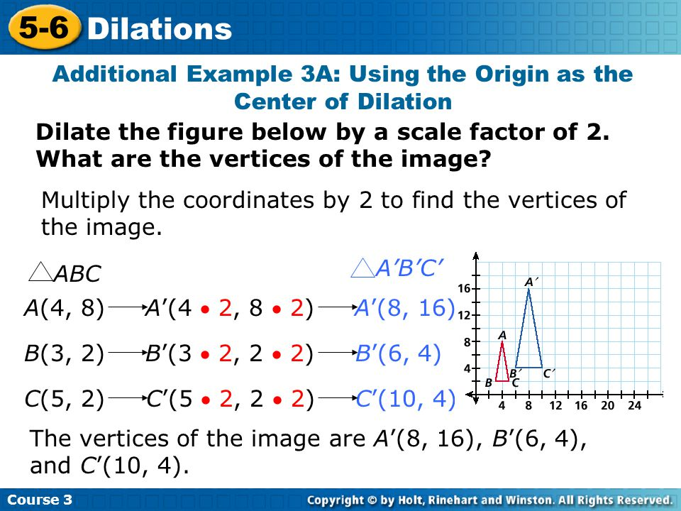 Additional Example 3A: Using the Origin as the Center of Dilation