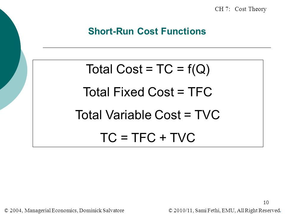 Short-Run Cost Functions