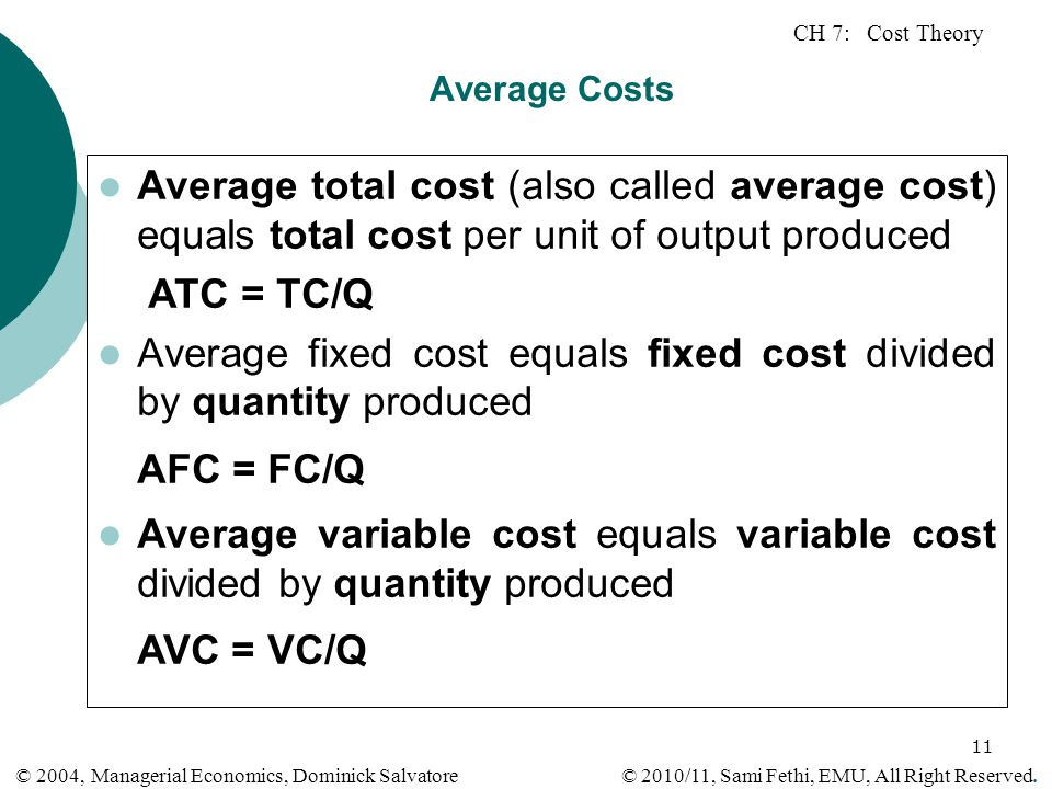 Average fixed cost equals fixed cost divided by quantity produced