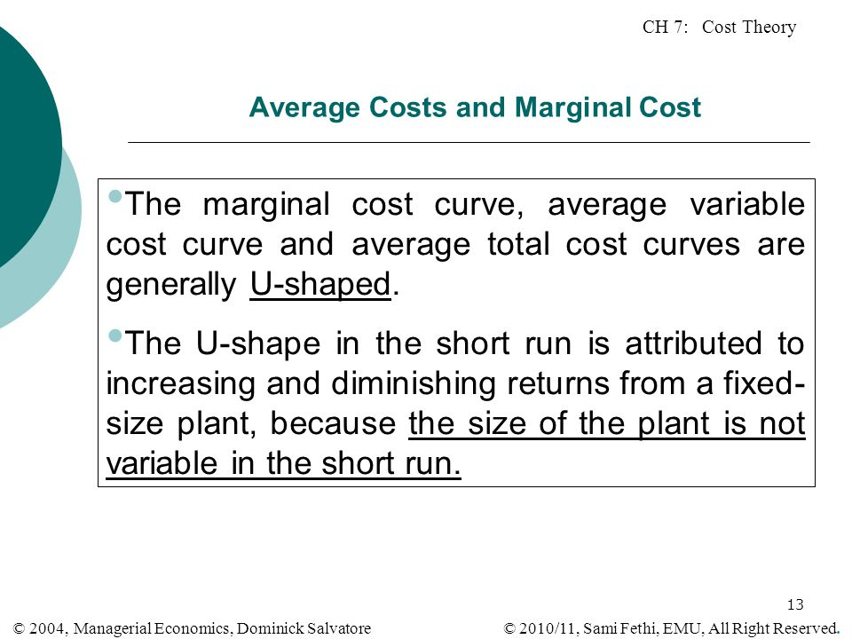 Average Costs and Marginal Cost