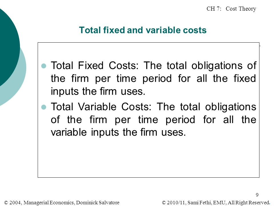 Total fixed and variable costs