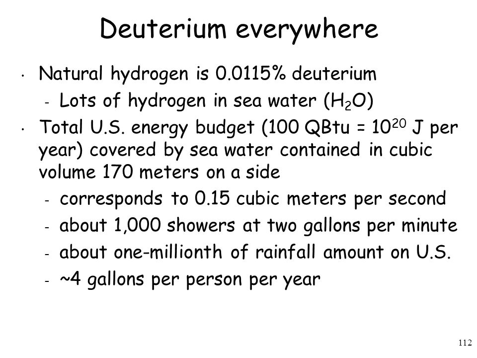 Deuterium everywhere Natural hydrogen is 0.0115% deuterium