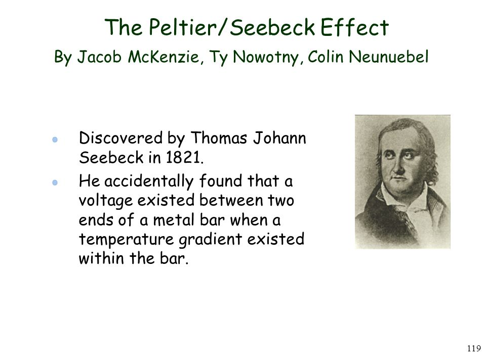 The Peltier/Seebeck Effect