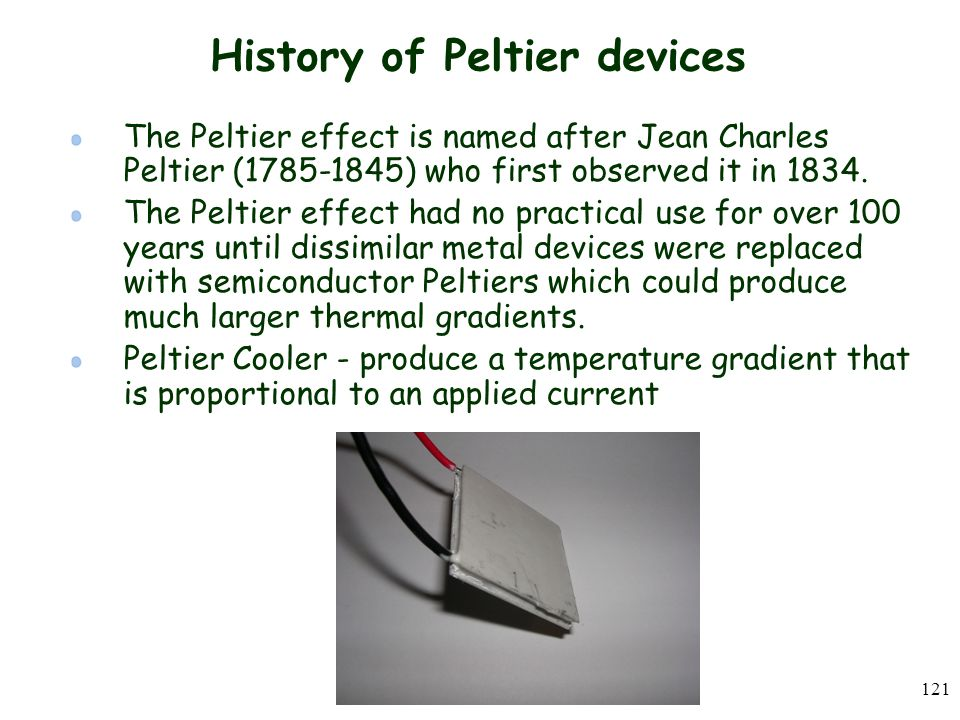 History of Peltier devices