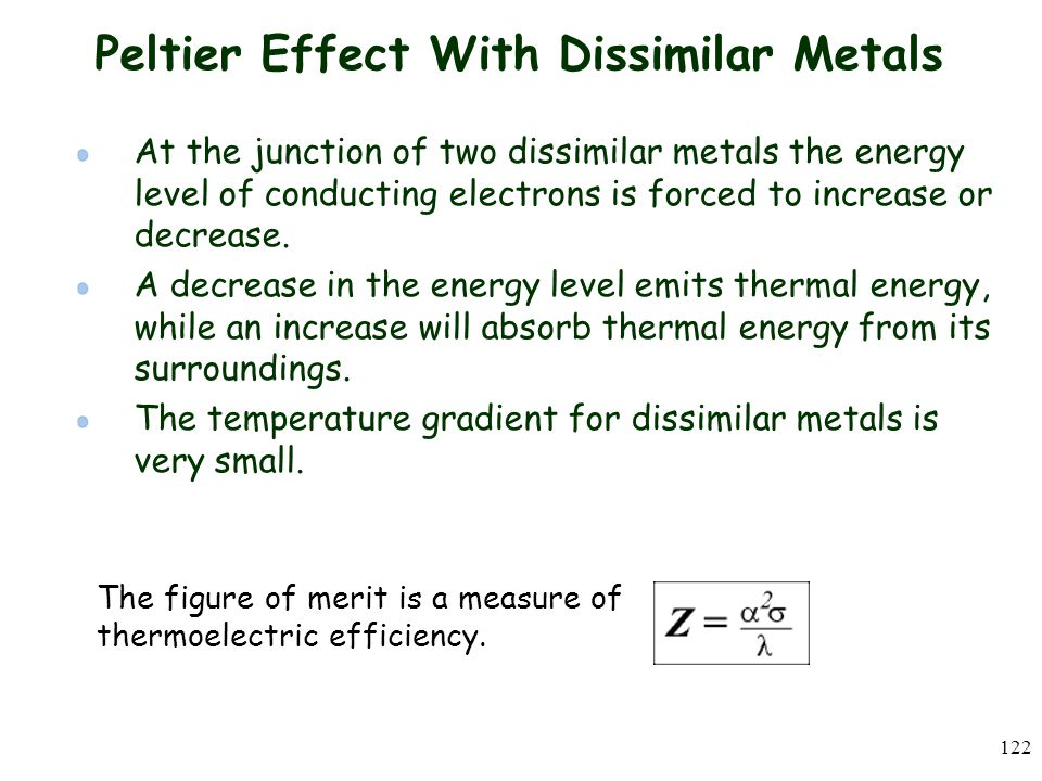 Peltier Effect With Dissimilar Metals