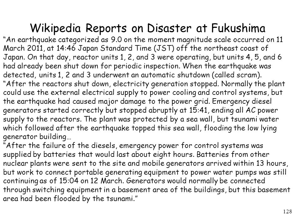 Wikipedia Reports on Disaster at Fukushima
