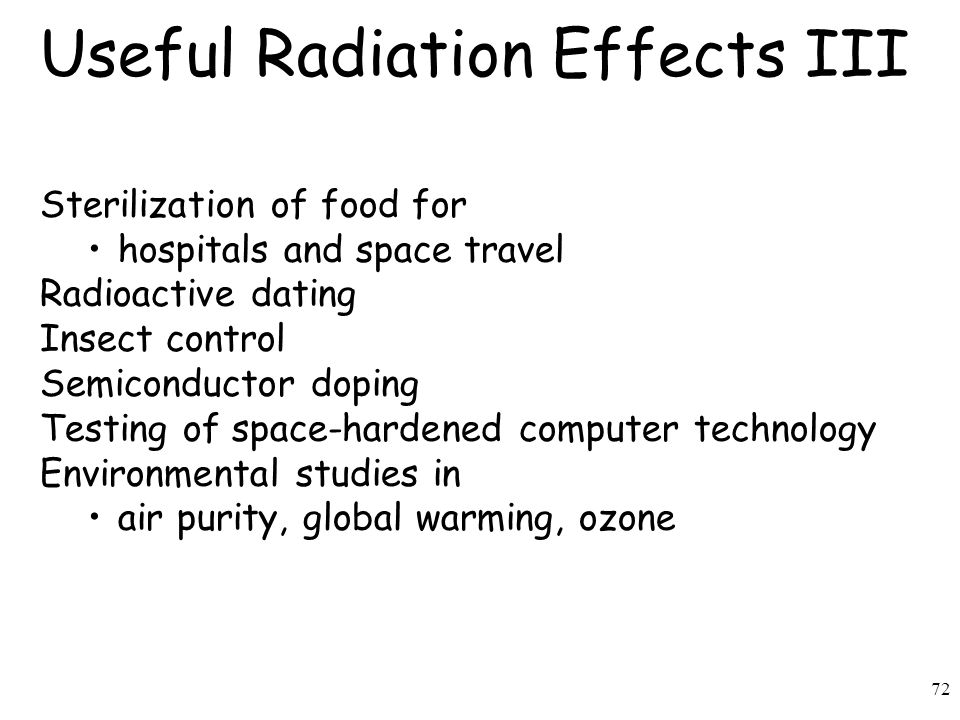 Useful Radiation Effects III