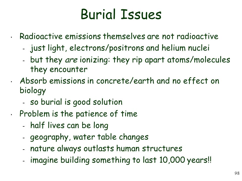 Burial Issues Radioactive emissions themselves are not radioactive