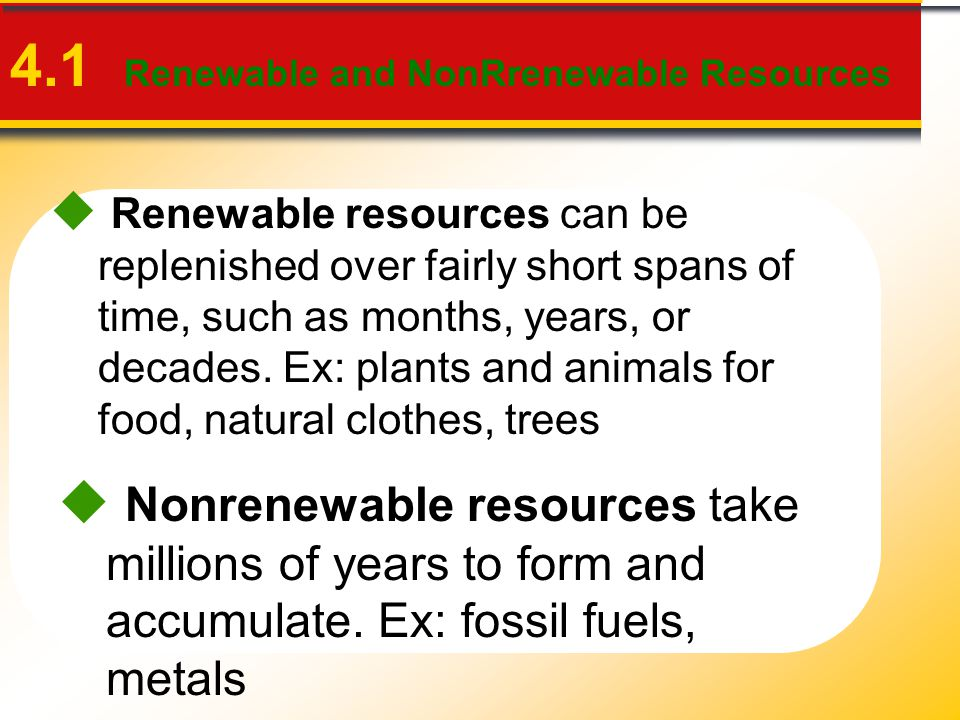 4.1 Renewable and NonRrenewable Resources