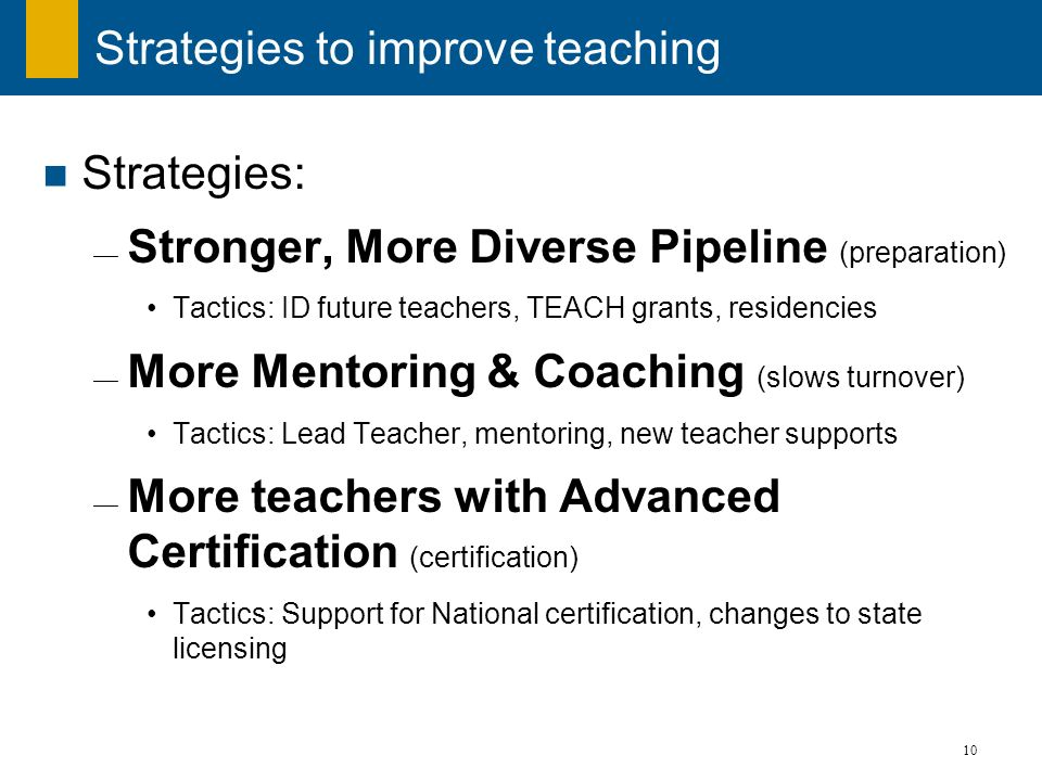 Strategies to improve teaching