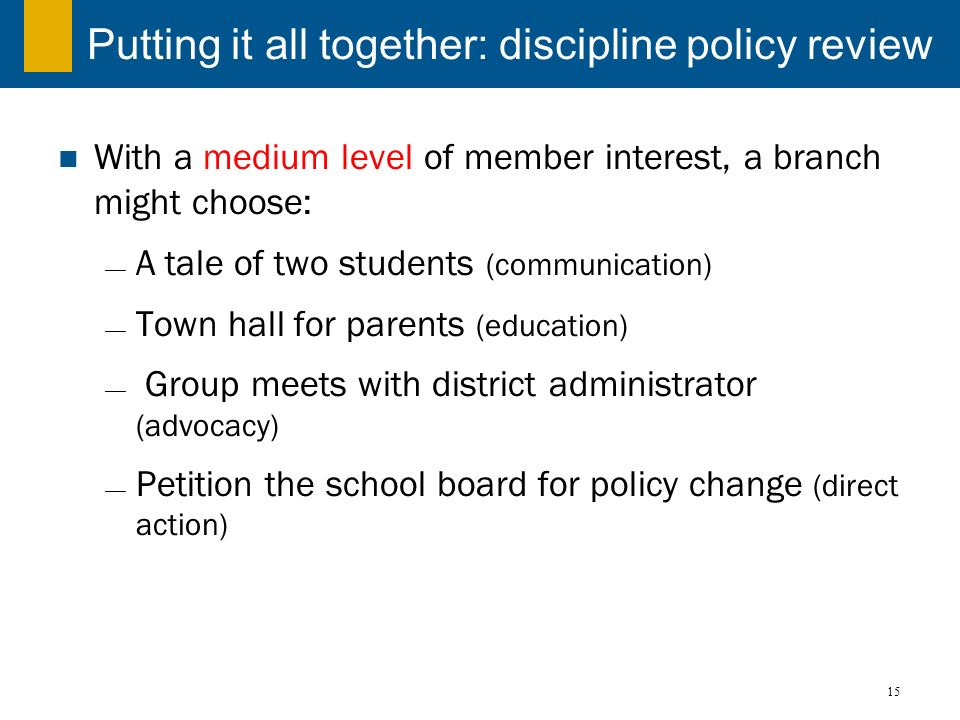 Putting it all together: discipline policy review