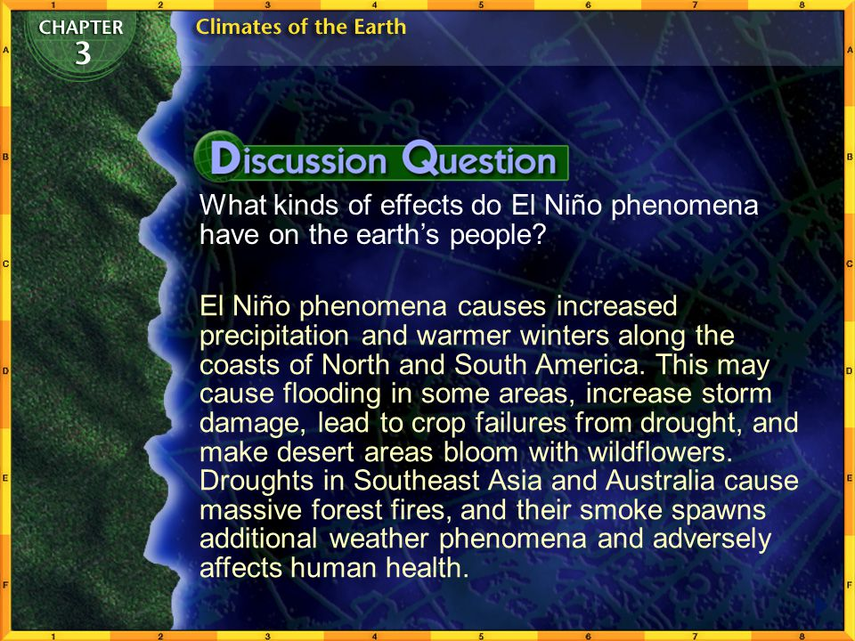 What kinds of effects do El Niño phenomena have on the earth's people