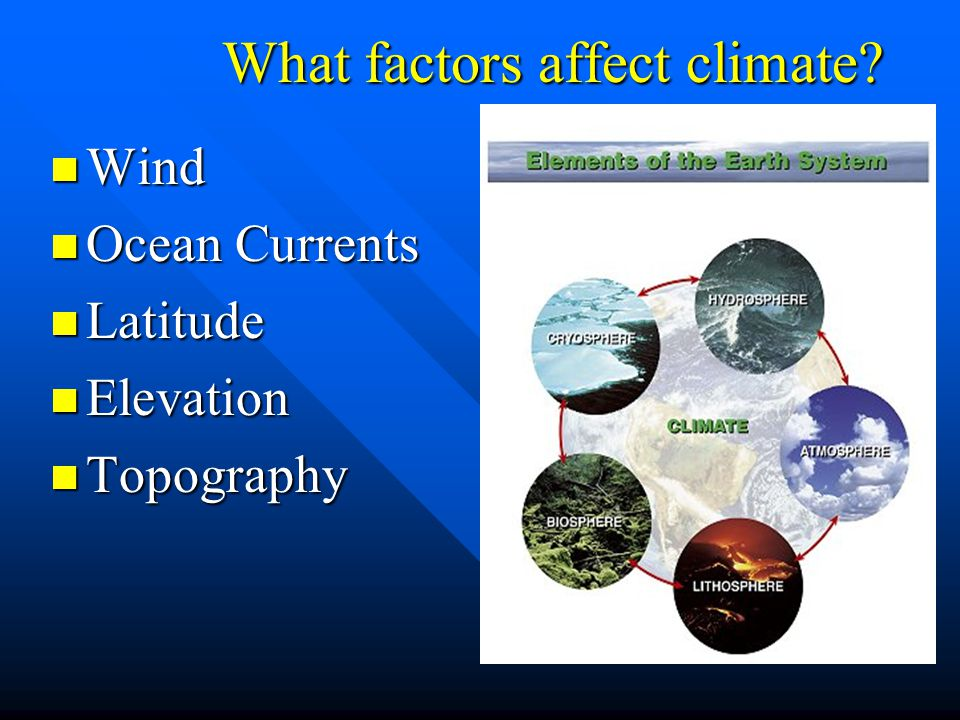What factors affect climate