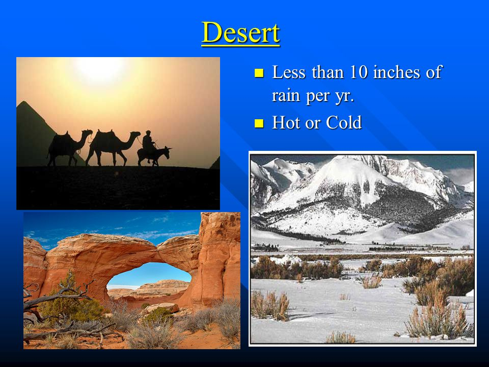 Desert Less than 10 inches of rain per yr. Hot or Cold