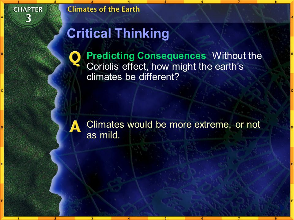 Critical Thinking Predicting Consequences Without the Coriolis effect, how might the earth's climates be different