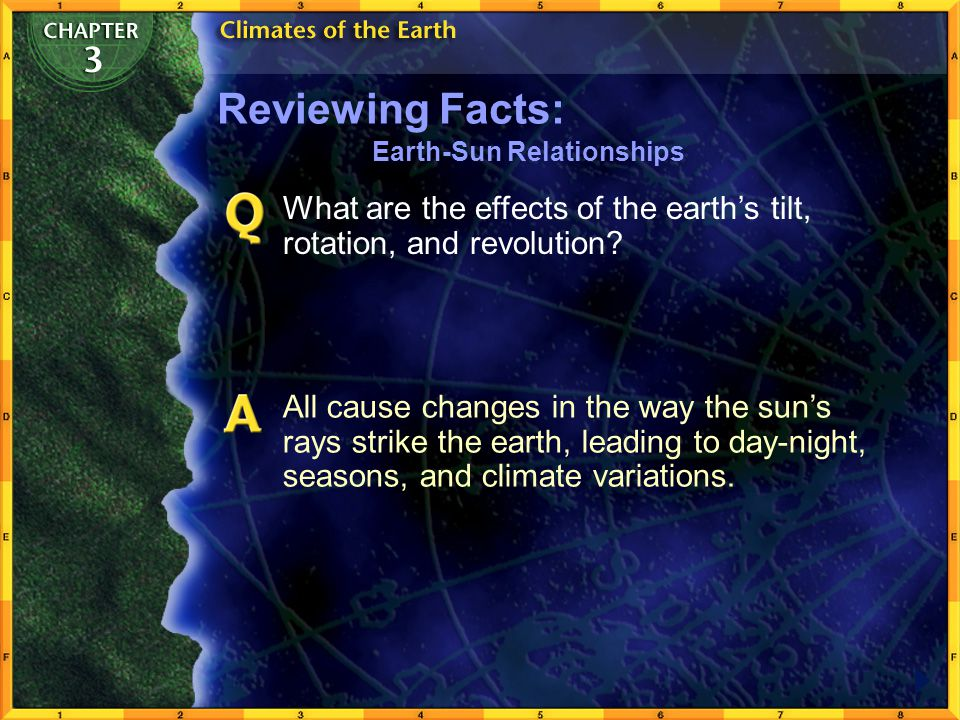 Reviewing Facts: Earth-Sun Relationships. What are the effects of the earth's tilt, rotation, and revolution