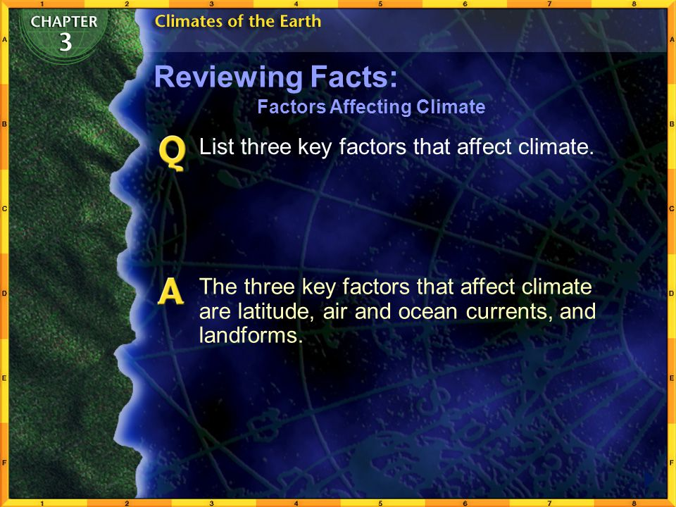 Reviewing Facts: List three key factors that affect climate.