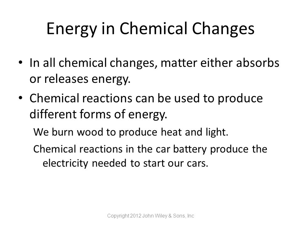Energy in Chemical Changes