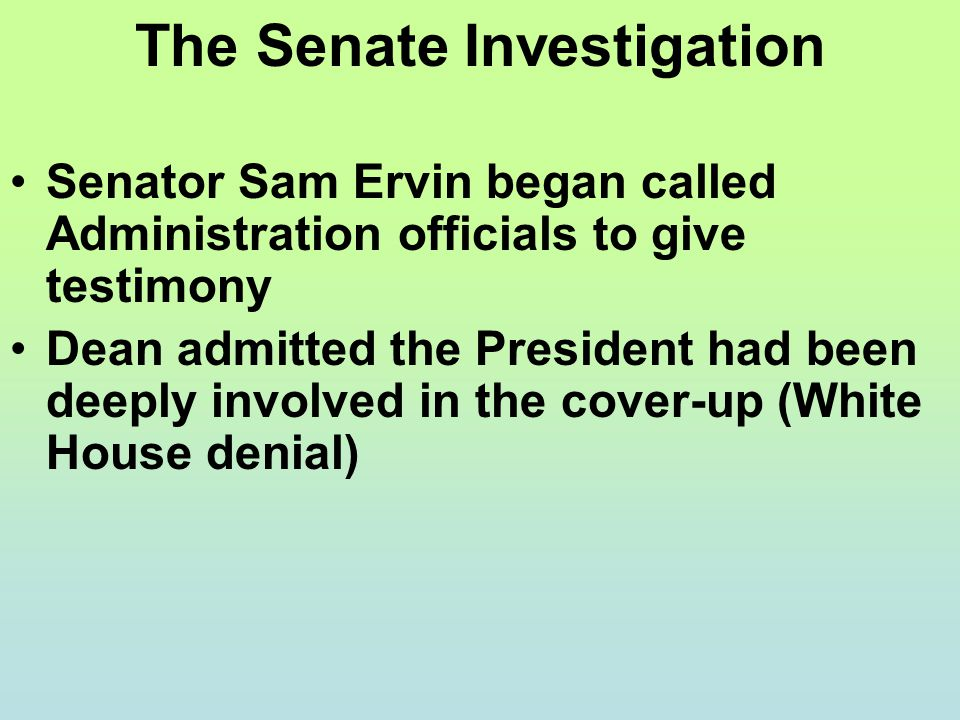 The Senate Investigation