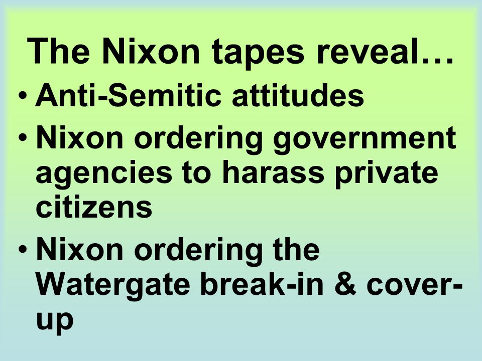 The Nixon tapes reveal…
