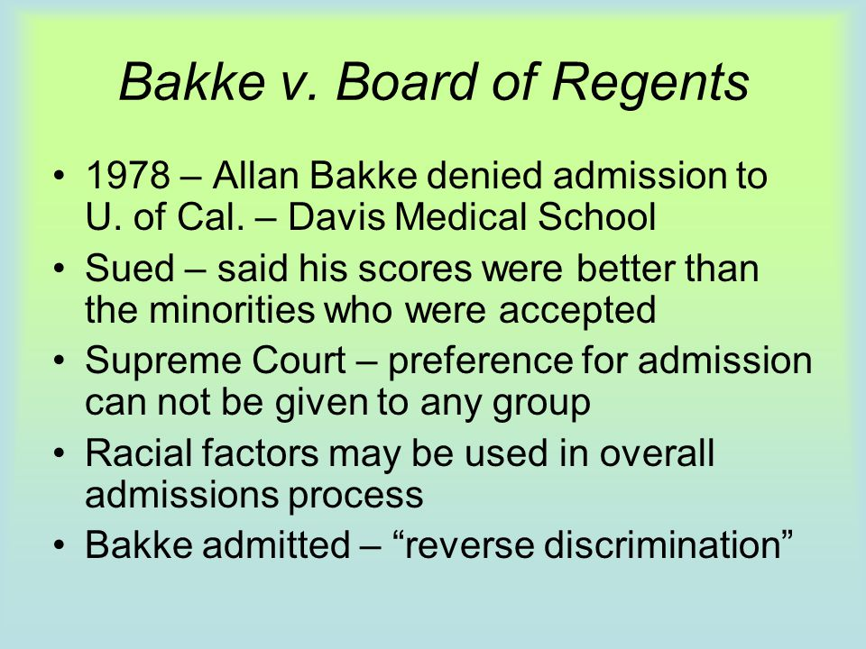 Bakke v. Board of Regents