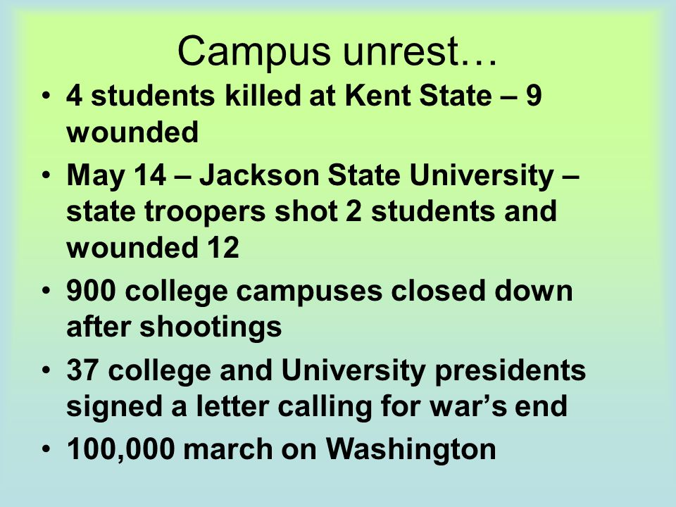 Campus unrest… 4 students killed at Kent State – 9 wounded