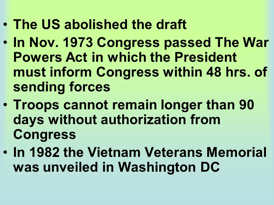 The US abolished the draft