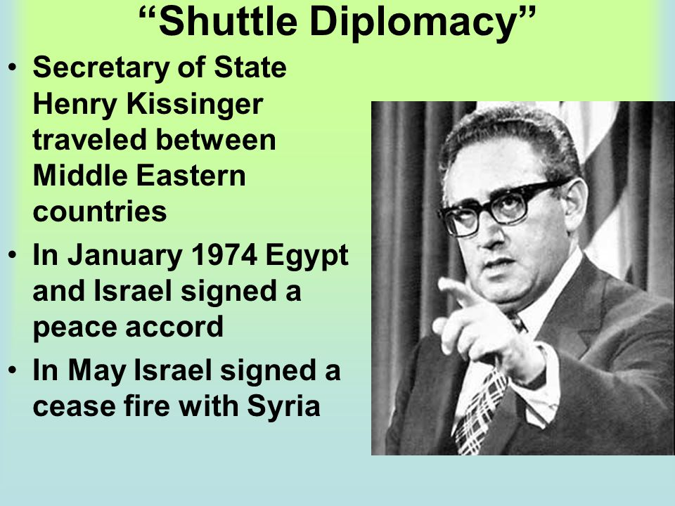 Shuttle Diplomacy Secretary of State Henry Kissinger traveled between Middle Eastern countries.