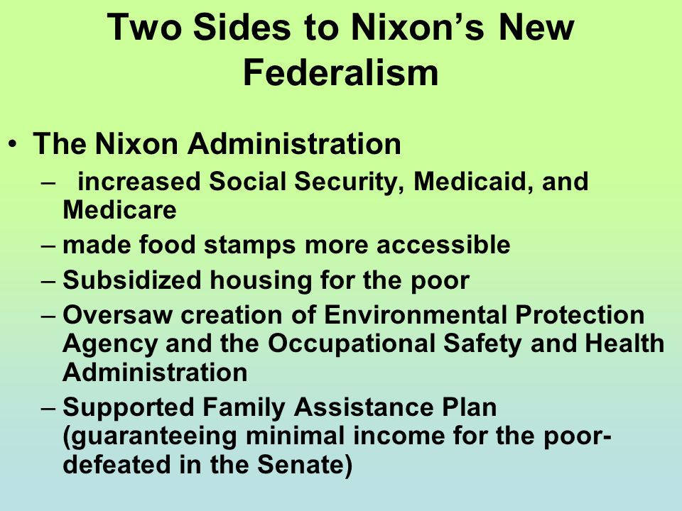 Two Sides to Nixon's New Federalism